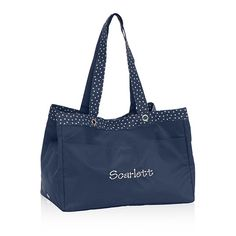 Soft Utility Tote - Navy Dancing Dot