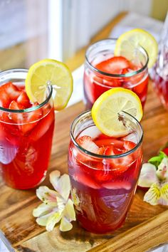 Strawberry Hibiscus-Tea Lemonade, from Martha Stewart Living magazine. We loved this, kind of like making your own restaurant-quality lemonade at home.