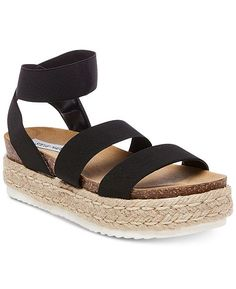 Steve Madden Women's Kimmie Flatform Espadrille Sandals - Black High style: Steve Madden's Kimmie espadrille sandals with stretchy crisscross straps and a chunky platform heel design. Steve Madden Platform Sandals, Platform Shoes, Black Platform Sandals, Steve Madden Shoes, Puma Platform, Cute Shoes, Me Too Shoes, Estilo Hippie, Flip Flop Shoes