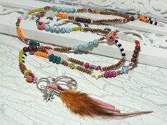 Charm- & Bettelketten - Lange Kette - PEACE - KUNTERBUNT - - ein Designerstück von Kunterbuntes-Perlenspiel bei DaWanda