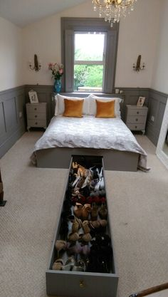 Mdf king-size bed frame with 6ft shoe drawer made by me www.ManCaveCreations.co.uk