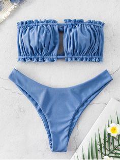 Ribbed Tie Cutout Bandeau Bikini Swimsuit – Silk Blue S Bikini Bandeau, Push Up Bikini, Bikini Jaune, Bikini Rose, Bikini Bleu, Bikini Azul, Haut Bikini, High Cut Bikini, Bikini Swimsuit