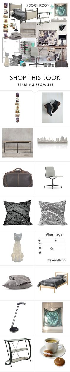 """Dorm Room."" by newsjoan ❤ liked on Polyvore featuring interior, interiors, interior design, home, home decor, interior decorating, BC Footwear, Restoration Hardware, Valerie Atkisson and Black Rivet"
