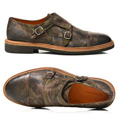 'Army' Camouflage Suede Double Monk Strap  ||  SUITSUPPLY