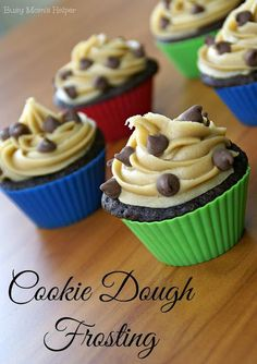 Cookie Dough Frosting via Busy Mom's Helper #cookiedough #frosting #cupcakes