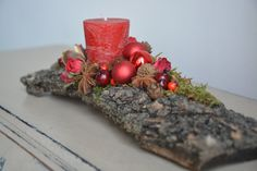 Christmas Floral Arrangement Christmas Candle por FlowerinasDecor