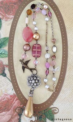 gypsy bird OOAK boho necklace upcycled beads pearl drop by Arey, $26.00