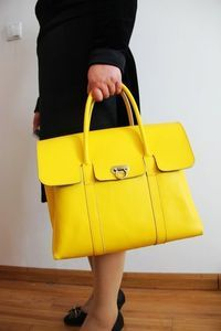 Handmade Artisan Genuine Leather Handbag Messenger Bag Satchel Purse in Yellow for Women