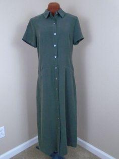 Talbots Size 6 Olive Green Button Down Short Sleeve Maxi Length Shirt Dress NWT #Talbots #Maxi #WeartoWork