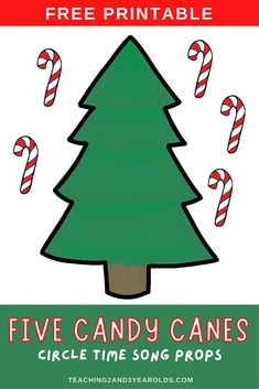 Work on counting skills with this Five Little Candy Canesactivity. Fun for toddler and preschool circle time! #Christmas #circletime #props #printable #teachers #toddlers #preschool #music #songs #candycanes #2yearolds #3yearolds #eaching2and3yearolds