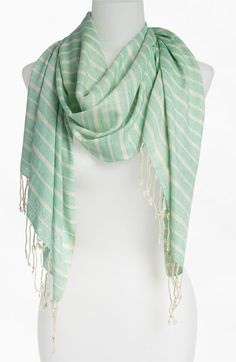 Stephan & Co. 'Pastel' Stripe Scarf Womens Mint Green