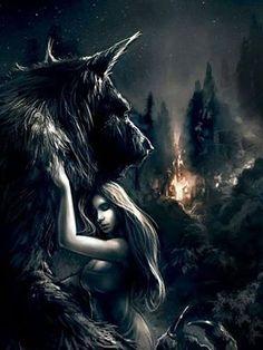 Werewolf and vampire Fantasy World, Dark Fantasy, Fantasy Art, Fantasy Creatures, Mythical Creatures, Werewolf Art, Werewolf Games, Vampires And Werewolves, Wolf Spirit