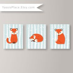 Fox Home Decor - Set de 3 tirages - hiver forêt thème bébé garçon ou fille Woodland mur pépinière oeuvre Playroom Decor bébé décor reproductions
