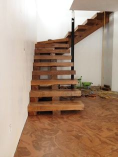 Solid oak stairs treated with Pentacryl by T&M Construction, Manitoba, Canada:
