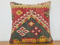 Handmade turkish kilim PILLOW Red Yellow Cream Black by DECOLIC, $79.00