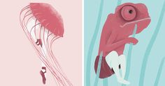 human-animal-hybrid-illustrations