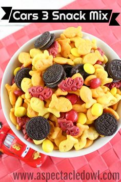 This Cars 3 Snack mix is colorful, adorable and delicious! Its so easy, your kids can put it together themselves!