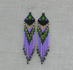 Native American Beaded Earrings InspiredDangle Very by Burvesrotas, $28.00