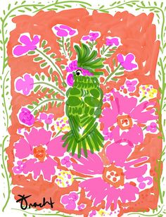 Art Print 8x10 Green Parrot Pink by artist Kelly Tracht, Art Poster Lilly Pulitzer Style Painting Palm Beach Regency