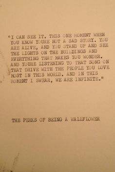 THE PERKS of being a WALLFLOWER: Typewriter quote on 5x7 cardstock on Etsy, $6.00