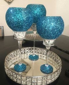 Dollar tree crafts - clear glass from pic frame and votive Wine Glass Crafts, Bottle Crafts, Diy Candle Holders, Diy Candles, Party Centerpieces, Bling Centerpiece, Dollar Tree Centerpieces, Wedding Decorations, Christmas Decorations