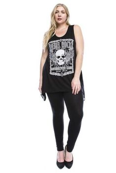 """Show off the rocker in you with the """"Rebel Rocker"""" tank! This skull and wing designed tank is embellished with iridescent rhinestones. - Made in the U.S.A - Vocal Brand - Scoop neck tank"""