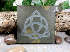 TRIQUETRA TILE  Carved Natural Slate Stone  by BlythHouseCreations