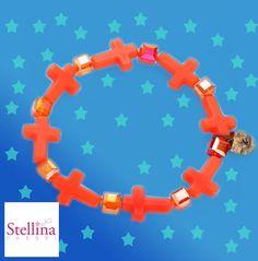 orange  crazy cross  bracelet