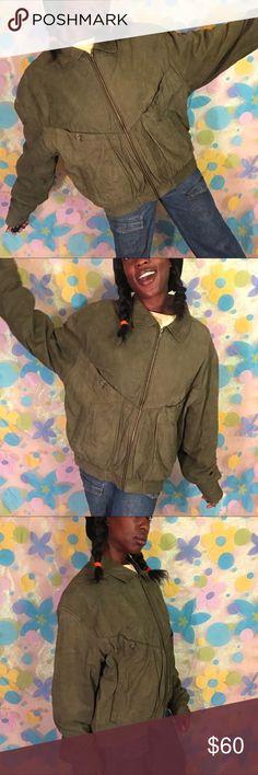 Bomber olive green Genuine leather jacket  Large Awesome men's leather bomber jacket! Size Large. Love the olive green color. Will keep you very warm!! 🐢🐍🦎🐸 LINK IN BIO!!! #jacket #coat #leather #olive #mensclothing #menswear #menscoat #studio7036 #vintage #retro #forsale #depop #ebay #poshmak #vinted #luxury #expensive #smallbusiness #blackowned #blackgirlmagic Jackets & Coats Bomber & Varsity