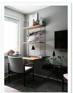 The Perfect Office - Logitech Mouse, Speakers, Makerbot Digitizer and Office Ideas Desk In Living Room, Living Spaces, Work Spaces, String Regal, String Shelf, Small Home Offices, Home Office Decor, Home Decor, Office Ideas