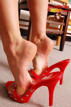 Red mules, great feet, and popped heels #highheelsstockings