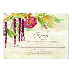 Burgundy Floral BOHO Rustic Wood RSVP Response Card - romantic wedding gifts wedding anniversary marriage party