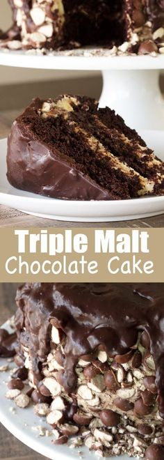 A moist and delicious triple chocolate malt cake with 3 layers of malt: malt chocolate cake, malt frosting, and a crushed malt crust. It's a malt lover's dream come true!