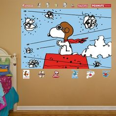 """Fathead Wall Decal, """"Peanuts Snoopy Flying Ace Mural"""" Fathead"""