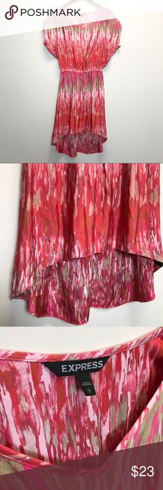 EXPRESS SILK HIGH-LOW DRESS! Silky high low dress!   ~ Brand new condition no holes or piling or anything! ~ Run a bit big being that it's a petite size ~ High Low look Express Dresses High Low