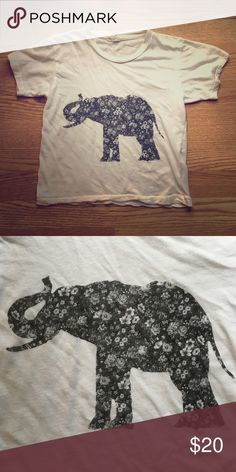NWOT elephant crop top New without tags. Super cute and very soft PacSun Tops Crop Tops