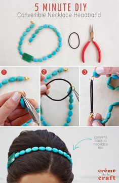 Necklace to headband. Cute concept, but wouldn't the jump ring wear out if you keep opening it?