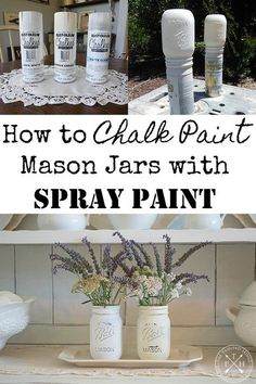 How to Chalk Paint Mason Jars with Spray Paint Hey guys! Welcome to the June edition of the Thrifty Style Team! Every month, I join the super-talented ladies below to bring you DIY and decor ideas that won't break the bank! Redhead Can Decorate Mason Jar Projects, Mason Jar Crafts, Mason Jar Diy, Hanging Mason Jars, Dye Mason Jars, Pickle Jar Crafts, Uses For Mason Jars, Chalk Paint Mason Jars, Painted Mason Jars