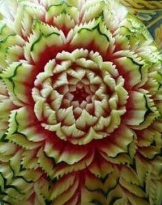 Carved watermelon flower