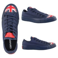 The Converse Chuck Taylor All Star Flag Toe Cap Low Top Union Jack shoe in Navy/Red/White is a funky and innovative shoe for the British lover out there. The classic Union Jack blue, this standard ...