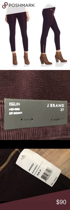 J Brand Iselin Mid Rise Zip Skinny Size 27 Brand New with tags  J Brand Iselin Mid Rise Skinny Corduroy in Blackberry.   Smoke free home   Feel free to ask me anything about this item.   See photos for care instructions and fabric blend info.  Happy Poshing!! 🛍🛍 J Brand Pants Skinny