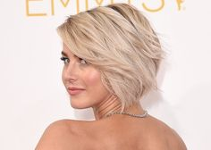 Julianne Hough grew out her pixie cut by keeping it shorter in the back and longer in the front. It's a cute way to keep your neck cool, but still have the versatility of a bob.