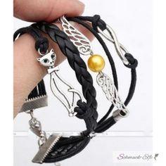 Leder Armband Katze schwarz  im Organza Beutel