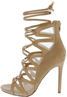 a3619f6db4b4 NASH CHESTNUT OPEN TOE LACE UP MESH V-STRAPS HEEL ONLY  10.88 Wholesale  Fashion Shoes