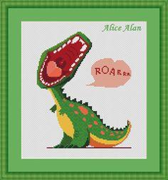 Cross Stitch Pattern Little roaring dinosaur (kids children baby) Counted Cross…