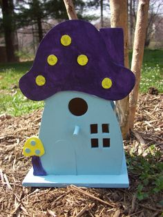 Hand Painted Mushroom Birdhouse by BeeHappyHandmade on Etsy, $12.95