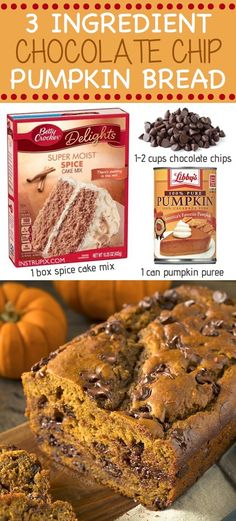 Super Easy and Moist 3 Ingredient Chocolate Chip Pumpkin Bread easy 3 ingredients easy for a crowd easy healthy easy party easy quick easy simple Moist Pumpkin Bread, Pumpkin Chocolate Chip Bread, Healthy Pumpkin, Pumpkin Bread Recipes, Pumpkin Breakfast, Pumpkin Dessert, Easy Pumkin Desserts, Köstliche Desserts, Chocolate Desserts