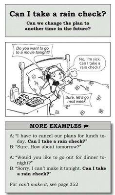 اTake a rain check English Vocabulary Words, Learn English Words, English Phrases, English Idioms, English Writing, English Study, English Grammar, English Language Learning, Teaching English