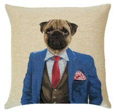 Dandy Pug Blue Belgian Tapestry Dog Cushions  http://www.abentleycushions.co.uk/detail.asp?pID=2955