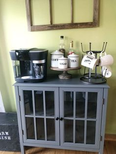 Create a Coffee Nook In Your Home - Thrifty to Nifty Coffee Nook, Home Hacks, Decorating On A Budget, Own Home, China Cabinet, Nifty, Repurposed, Diy Projects, Organization